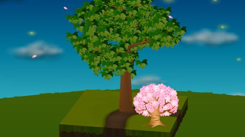 光る桜の木 大 濃ピンク 設置例
