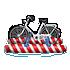水上自転車 赤縞