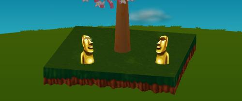 金のモアイ像 右向き/左向き 設置例