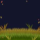 背景:夜の草原