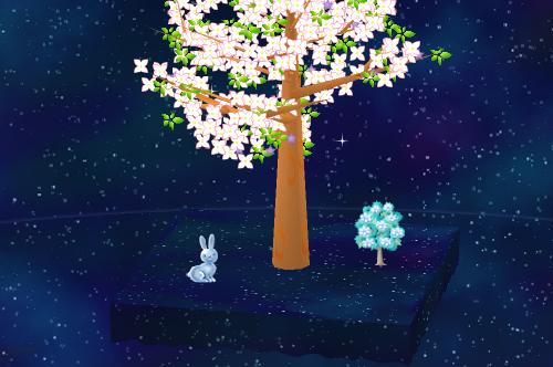 クリスタルのウサギ、クリスタルの木 設置例