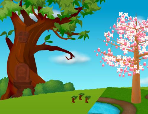コイコイハロウィンの森の木A 設置例(昼)