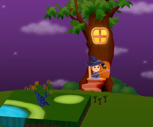 コイコイハロウィンの森の木C 設置例(夜)