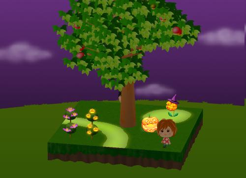 ハロウィンブッシュB かぼちゃ/コウモリ、パクパクかぼちゃ、ハロウィンかぼちゃ草 設置例