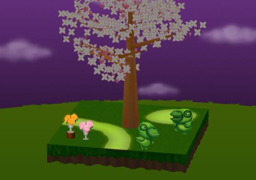 トピアリー がーがーちゃんA/B、光るバラ 花瓶 ピンク/オレンジ 設置例