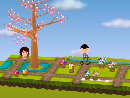 レトロな自転車、花籠(各種) 設置例