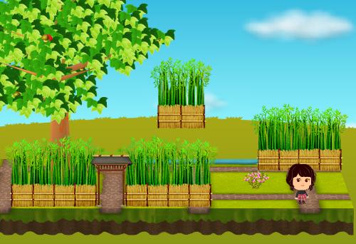 竹の壁(庭)、竹の壁(大地)、竹の壁 門、ハッピーベリー ピンク 設置例