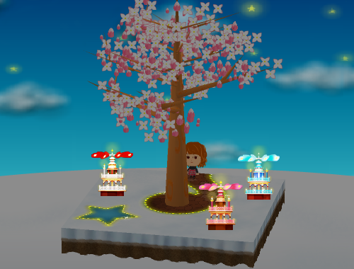 クリスマスピラミッド 白/ピンク/水色 設置例