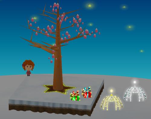 イルミネーションドーム 金/銀、光るプレゼントの箱 赤/緑 設置例