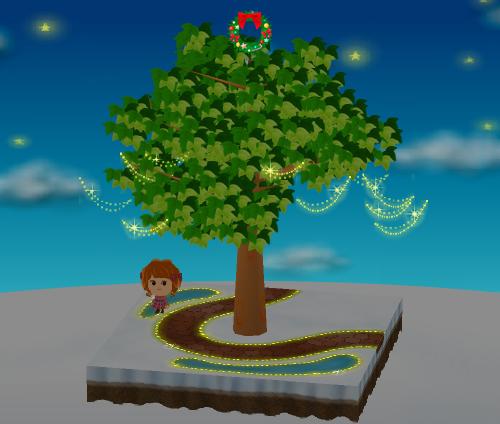 トップクリスマスリース 設置例(電飾が木から離れている例)