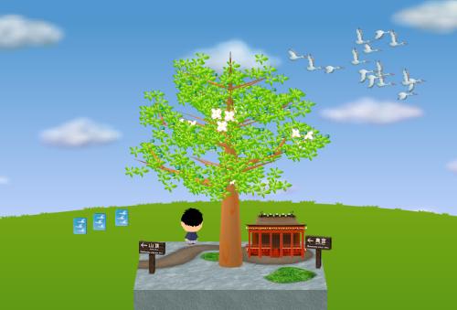 コイコイ渡り鳥、朱塗りのお堂、看板 奥宮、看板 山頂 設置例