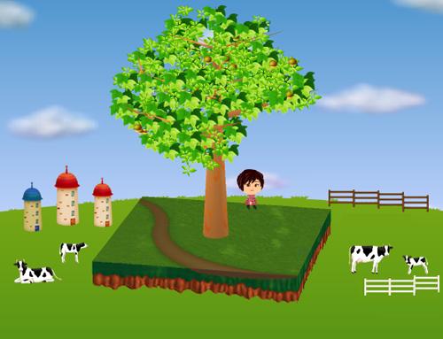 牛のオブジェA/B、子牛のオブジェA/B、牧場の柵 白/茶、サイロ 大 赤/赤/青 設置例