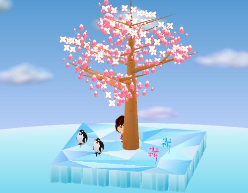 氷の四つ葉のクローバー、氷の四つ葉のクローバー ピンク、ペンギンピック ふとっちょ 赤/青 設置例