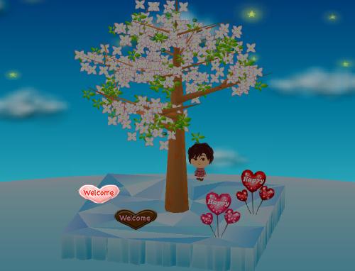 ハートバルーン 赤/ピンク、ウェルカム板 ハート チョコ/キャンディ 設置例(夜)