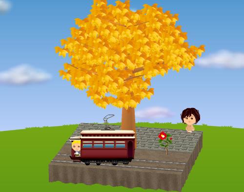 レトロ路面電車、一輪椿 赤 設置例