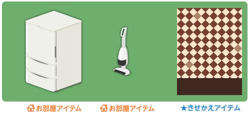 冷蔵庫ホワイト・スティック掃除機ホワイト・背景:市松ティラミス