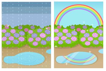 背景:雨の日&雨あがり