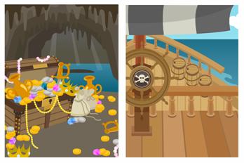 洞窟の財宝&海賊船の甲板