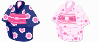 浴衣 紺&浴衣 ピンク