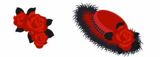 バラの髪飾り 赤&舞踏会エレガント帽