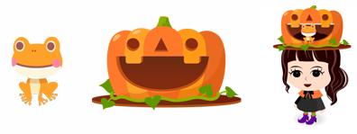 頭のせカエル(ハロウィン)&巨大かぼちゃ帽