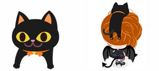 頭のせ黒猫
