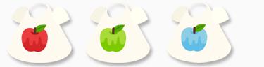 Tシャツ りんご(赤)&(緑)&(青)