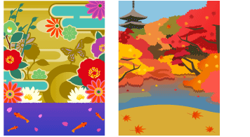 背景:花魁風和柄&紅葉の京都