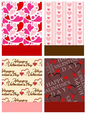 バレンタイン ポップハート&バレンタイン ラインハート&ラッピングハート ホワイト&ラッピングハート ダーク