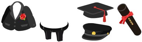 花付フォーマルスーツ上&フォーマルスーツ下、学帽&学生帽、特大卒業証書