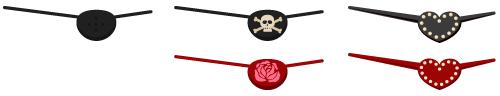 海賊眼帯、眼帯 ドクロ・眼帯 ローズ・眼帯 ハート黒・眼帯 ハート赤