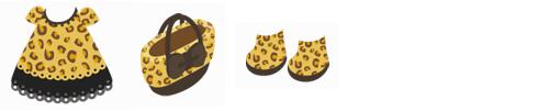ヒョウ柄ワンピ、リボン付ヒョウ柄バッグ、ヒョウ柄ブーツ