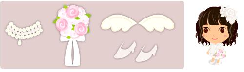 ウェディングネックレス、ウェディングブーケ、天使の羽、ウェディングハイヒール