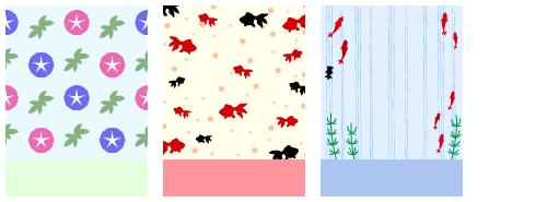 朝顔 赤と青 & 金魚 水玉 & 金魚 ストライプ