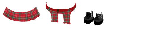 タータンチェックスカート、タータンチェックパンツ、ロックブーツ