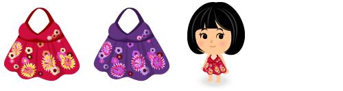 キャミワンピ花 赤・紫