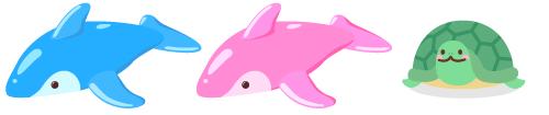 特大ドルフィン 青・ピンク、頭のせカメ