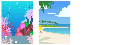 背景:深海、リゾートビーチ