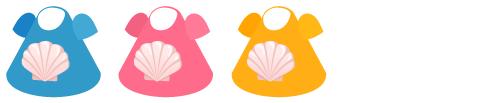 Tシャツ 貝(青)&貝(桃)&貝(青)