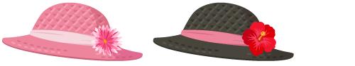 麦わら帽子 ピンク、麦わら帽子 黒