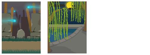 背景・夜の墓地、柳の木