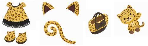 ヒョウ柄ワンピ、ヒョウ柄ブーツ、ヒョウ耳、ヒョウ尻尾、リボン付ヒョウ柄バッグ、ヒョウのぬいぐるみ