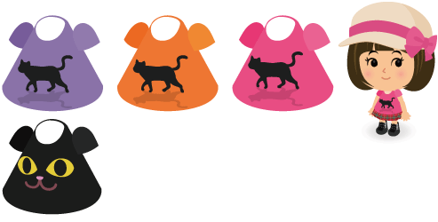 黒猫Tシャツピンク、黒猫Tシャツ紫、黒猫Tシャツオレンジ、黒にゃんこTシャツ