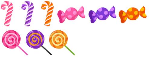 キャンディステッキ 各色、特大キャンディ 各色、ロリポップ 各色