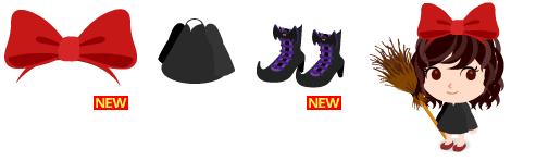 大きなヘアリボン、魔女ワンピ、魔女ブーツ