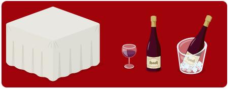 クロス付きテーブル、ワイングラス赤、ワインボトル赤、ワインクーラー