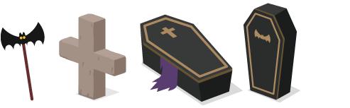 コウモリピック、十字型墓石、ミニ棺桶横、ミニ棺桶縦