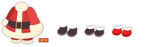 サンタロングコートセット、サンタブーツ黒、サンタブーツふわふわ 2色