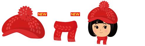 ニットキャスケット赤、ニットマフラーフリンジ赤
