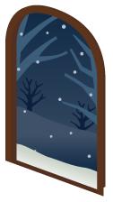 ドア枠雪空アーチ